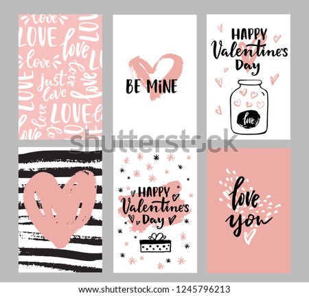 Set of Valentine's day greeting cards with hand written greeting lettering and decorative textured brush strokes on background. Happy Valentine's day, Love you words, love in a jar concept