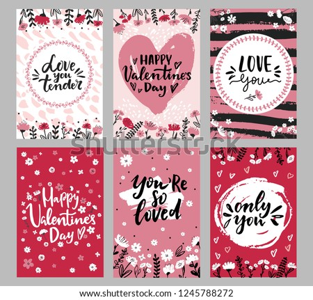 Set of Valentine's day greeting cards with hand written greeting words and floral wreaths and branches and brush strokes on background #1245788272