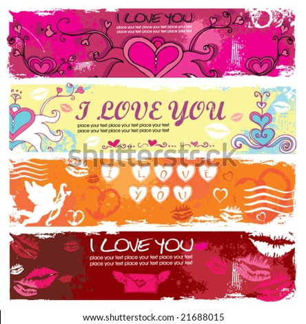Set of Valentine's day grunge banners 1.  To see similar, please VISIT MY GALLERY.