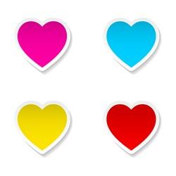 Set of Valentine's Day  heart paper frames. Vector illustration.