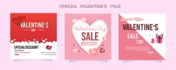 Set of Valentine's day Instagram Sale feed template. Streaming. Creative universal Editable cards in trendy style with love for social media promo.