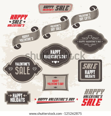 Set of Valentine's sale banners, frames, labels, ribbons, stickers and decorative ornaments #125262875