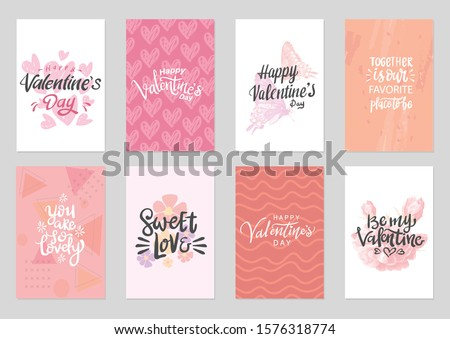set of valentine themed hand lettering typography design with cute colorful background