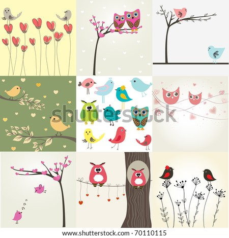 set of 9 valentines cards with