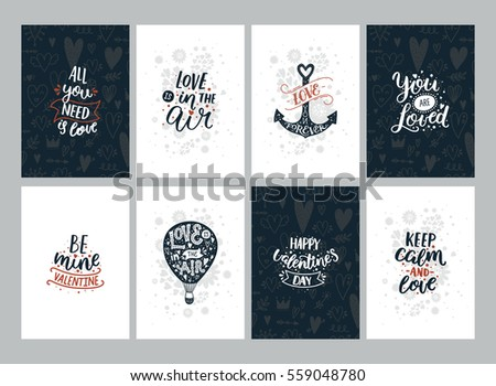 Set of Valentines Day cards with Romantic quotes, ancher, aerostat and floral elements. Vector typography posters