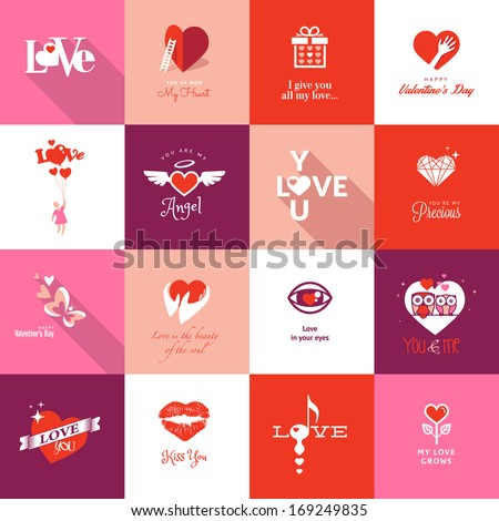 set of valentines day icons