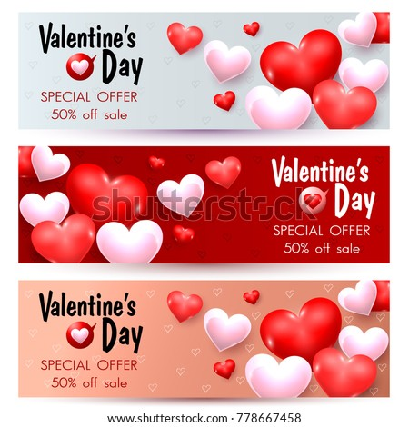 Set of Valentines Day Sale Promotion Banners. Trendy Design Vector
