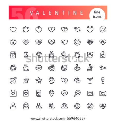 Set of 56 Valentines Days line icons suitable for your romance projects. Isolated on white background. Clipping paths included.