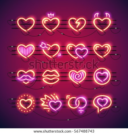 set of valentines neon hearts