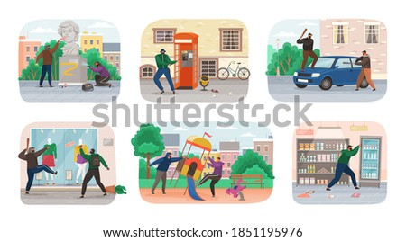 Set of vandals hiding under hoods damaging public property. People vandalism gangster. Collection of diverse people making harm paint and crush car, building wall, glass showcase, park bench and atm Foto stock ©