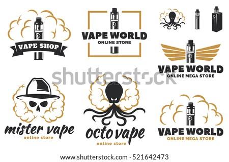 set of vape  e cigarette logo