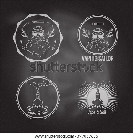 Set of vaping circle logos on the chalkboard background. Stock vector.