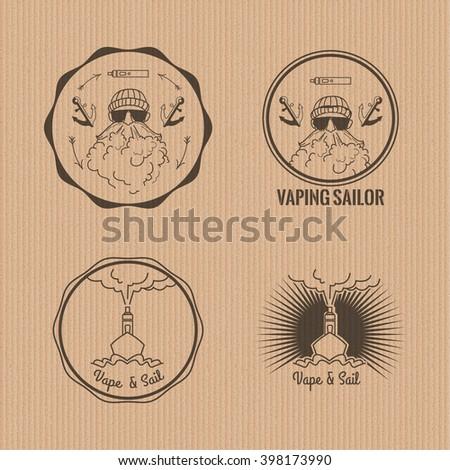 Set of vaping circle logos. Stock vector.