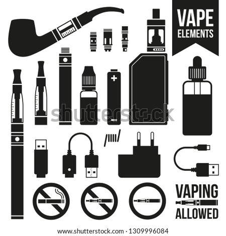 Set of vaping icons. E-cigarettes, e-liquid, accessories. Black and white silhouette vector illustration