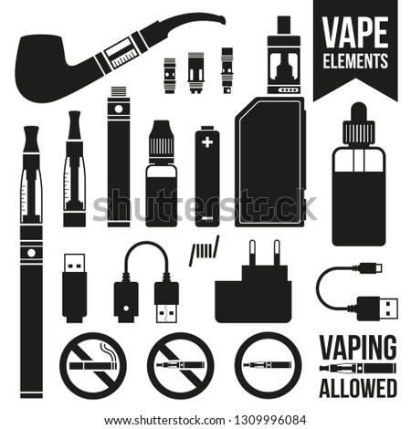 Set of vaping icons. E-cigarettes, e-liquid, accessories. Black and white silhouette vector illustration