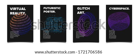 Set of vaporwave and synthwave style posters with binary code and 3d figures. Collection of futuristic cyberpunk covers for music, hackathon or science event. Foto stock ©