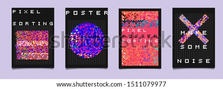 Set of vaporwave/ retrowave/ cyberpunk style posters with glitch generative art of pixel sorting. Composition of random pixels like in old retro 80s-90s video game. stock photo