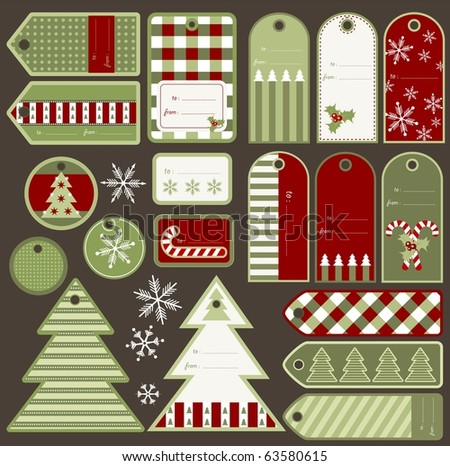 set of variable christmas tags
