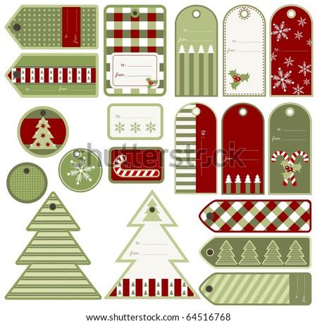 set of variable christmas tags