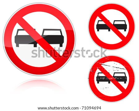 Set of variants a No adelanta - road sign isolated on white background. Group of as fish-eye, simple and grunge icons for your design. Vector illustration. - stock vector