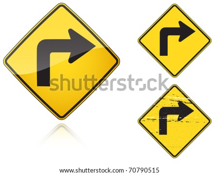 Set of variants Right Sharp turn traffic road sign isolated on white background. Group of as fish-eye, simple and grunge icons for your design. Vector illustration.