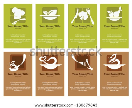 Gourmet food business template download free vector art stock set of variety business cards for cafe or restaurant reheart Image collections
