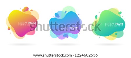 Set of variety modern liquid fluid abstract elements graphic gradient vector colored line banners shape template can use for logo, presentation, flyer, brochure