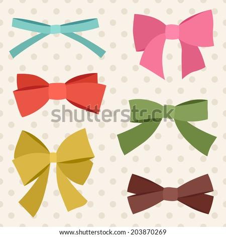Set of various abstract bows and ribbons.