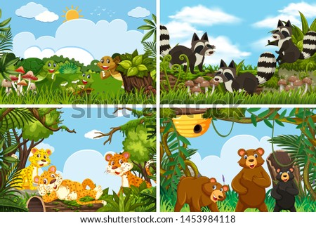 Set of various animals in nature scenes illustration #1453984118
