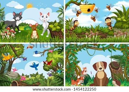 Set of various animals in nature scenes illustration #1454122250