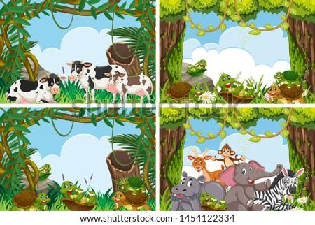 Set of various animals in nature scenes illustration #1454122334