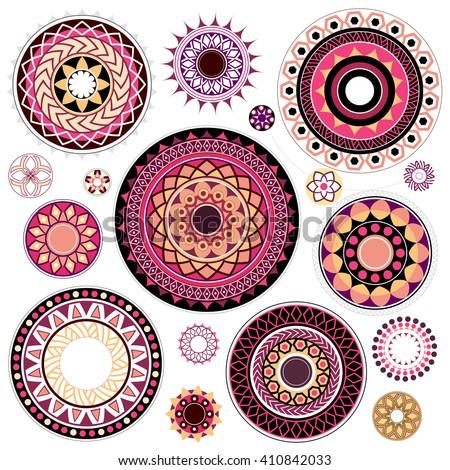 set of various artistic circled
