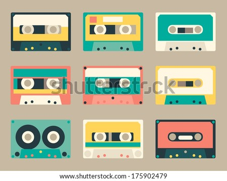 set of various audio tapes in