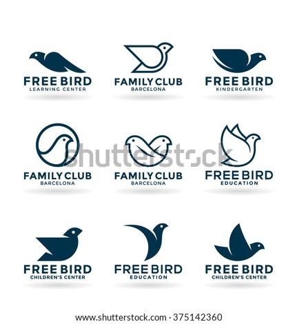 set of various bird symbols and