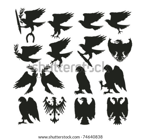 set of various birds silhouettes