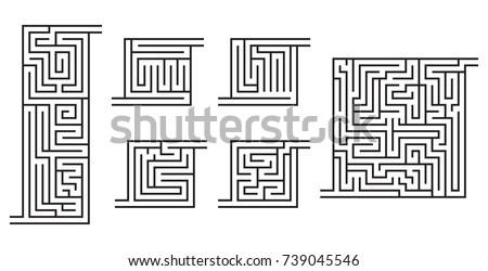 set of various black maze game