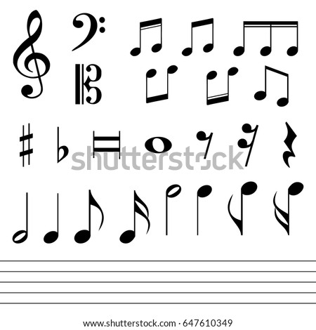 Set of various black musical note icon isolated.