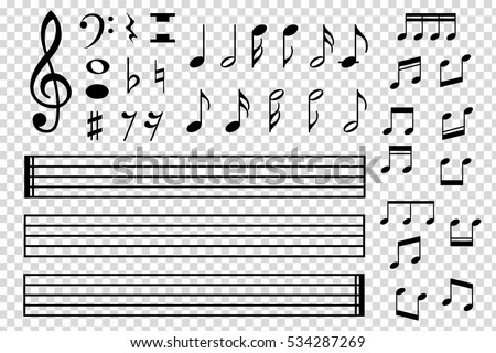 Shutterstock Set of various black musical note icon isolated on transparent background. Vector illustration for music design. Melody tune symbol pattern. Key sign collection. Tone element art.