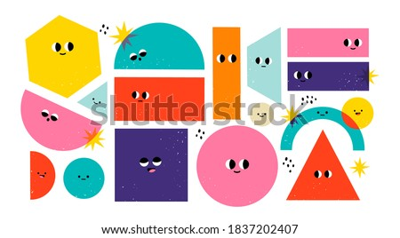 Set of Various bright basic Geometric Figures with face emotions. Different shapes. Hand drawn trendy Vector illustration for kids. Cute funny characters. All elements are isolated