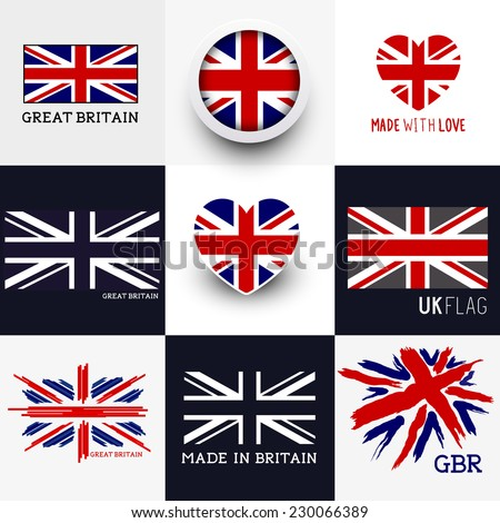 set of various british flags