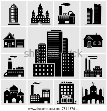 Set of various buildings and real estate icons. Vector illustration.