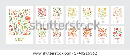 Set of various calendar templates for 2021 year vector flat illustration. Colorful creative pages decorated by natural blossom isolated on white. Collection of schedule design week start on sunday