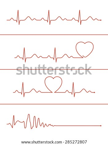 set of various cardiogram