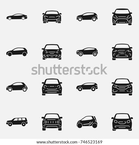 Set of various cars front and side view vector icon