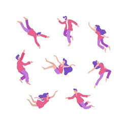 Set of various cartoon people flying in space vector flat illustration. Collection of sleeping man and woman fly, moving and floating in imagination dream isolated on white background