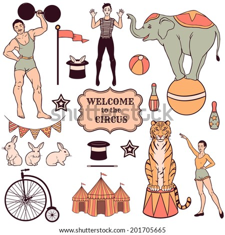 set of various circus elements  ...