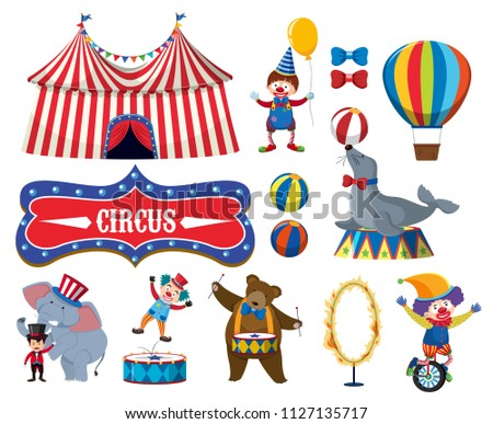 Set of various circus objects illustration
