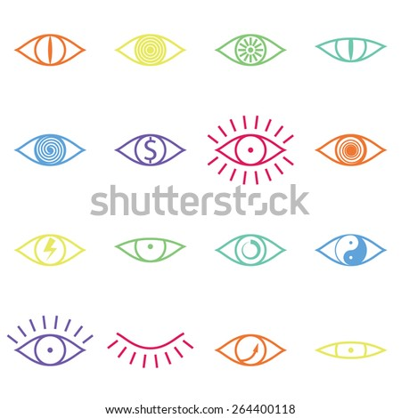 set of various color eye icons
