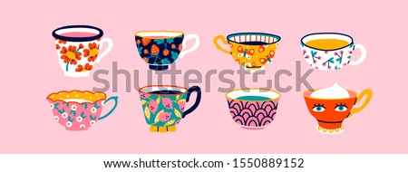 Set of various cups with tea or coffee. Side view. Different ornaments. Flowers, berries, etc Hand drawn colored trendy vector illustration. Cartoon style. Flat design. Isolated on a pink background