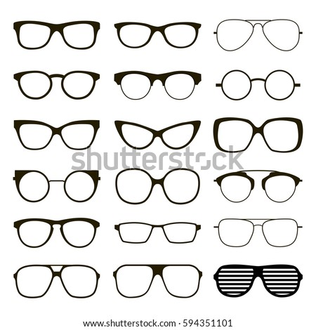 Set of various custom glasses isolated. vector spectacles silhouette on white background. Glasses model icons. Fashion accessories collection.